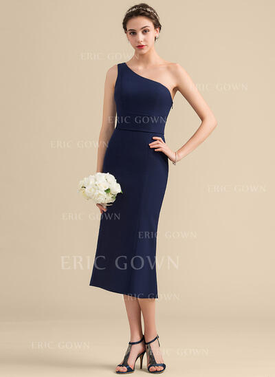 Sheath/Column One-Shoulder Tea-Length Stretch Crepe Bridesmaid Dress With Bow(s) (007153317)
