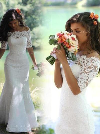 Trumpet/Mermaid Off-The-Shoulder Chapel Train Wedding Dresses (002147797)
