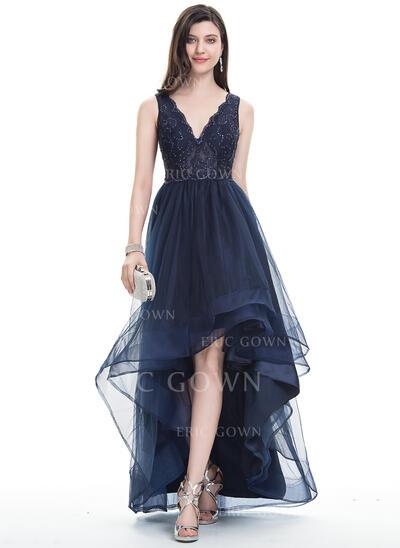 A-Line V-neck Asymmetrical Tulle Prom Dresses (018113759)