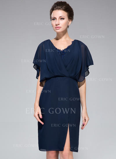 Sheath/Column Chiffon Short Sleeves V-neck Knee-Length Zipper Up Mother of the Bride Dresses (008050417)