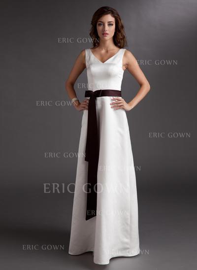 A-Line/Princess Satin Bridesmaid Dresses Sash Bow(s) V-neck Sleeveless Floor-Length (007001917)