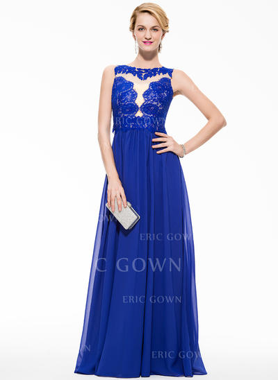 A-Line/Princess Chiffon Lace Prom Dresses Scoop Neck Sleeveless Floor-Length (018075900)