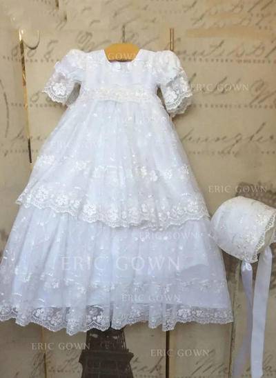 A-Line/Princess Scoop Neck Floor-length Lace Christening Gowns (2001216853)