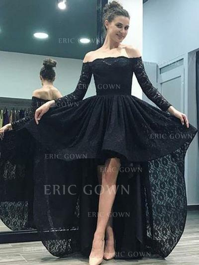Luxurious Lace Evening Dresses A-Line/Princess Asymmetrical Sweep Train Off-the-Shoulder Long Sleeves (017213621)