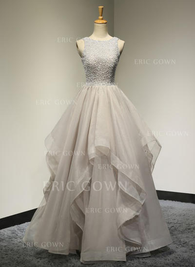 A-Line/Princess Tulle Prom Dresses Beading Scoop Neck Sleeveless Floor-Length (018196618)