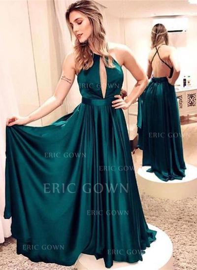 A-Line/Princess Scoop Neck Floor-Length Prom Dresses (018218314)
