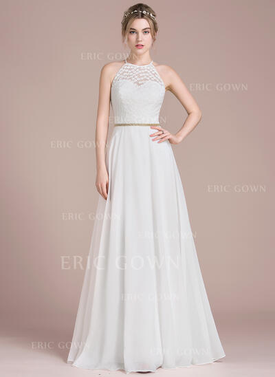 A-Line/Princess Scoop Neck Floor-Length Chiffon Lace Prom Dresses With Beading (018116379)