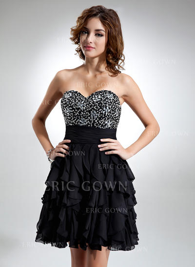 A-Line/Princess Sweetheart Knee-Length Cocktail Dresses With Beading Cascading Ruffles (016016334)