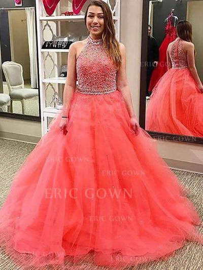 Sexy Tulle Evening Dresses Ball-Gown Floor-Length Halter Sleeveless (017210885)