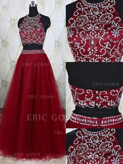 A-Line/Princess Scoop Neck Floor-Length Evening Dresses With Beading (017217068)