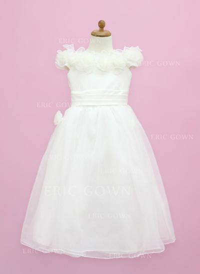 Flattering Off-the-Shoulder A-Line/Princess Flower Girl Dresses Floor-length Organza/Satin Sleeveless (010005338)