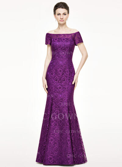 Trumpet/Mermaid Off-the-Shoulder Floor-Length Lace Mother of the Bride Dress (008062535)