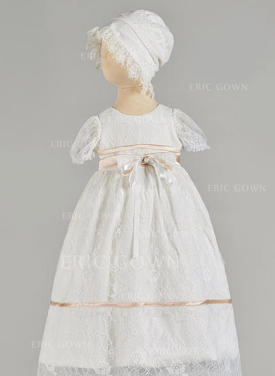 A-Line/Princess Scoop Neck Floor-length Tulle Christening Gowns With Beading Bow(s) (2001217438)
