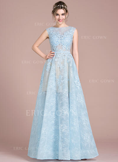 A-Line/Princess Scoop Neck Floor-Length Tulle Lace Prom Dresses (018093858)
