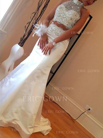 Trumpet/Mermaid Satin Prom Dresses Beading High Neck Sleeveless Sweep Train (018210249)