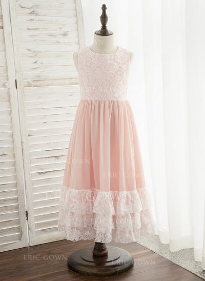 A-Line Tea-length Flower Girl Dress - Chiffon/Lace Sleeveless Scoop Neck (010172356)