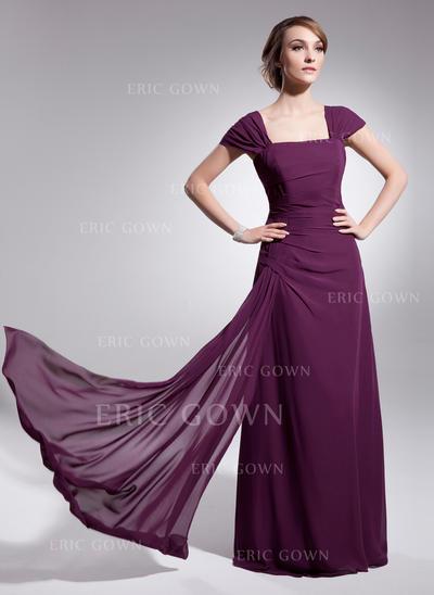 A-Line/Princess Chiffon Sleeveless Square Neckline Floor-Length Zipper Up Mother of the Bride Dresses (008210422)
