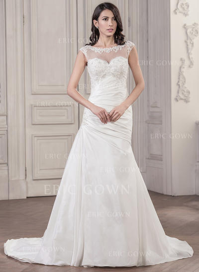 Glamorous Scoop Trumpet/Mermaid Wedding Dresses Chapel Train Taffeta Sleeveless (002210598)
