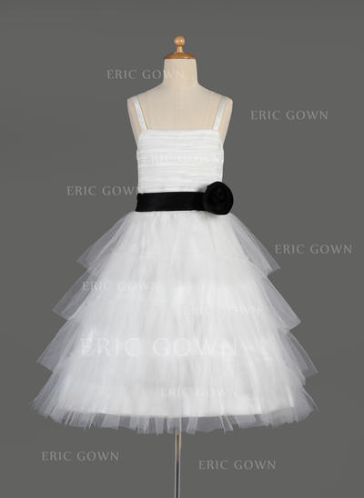 Elegant Square Neckline A-Line/Princess Flower Girl Dresses Knee-length Tulle/Charmeuse Sleeveless (010014635)