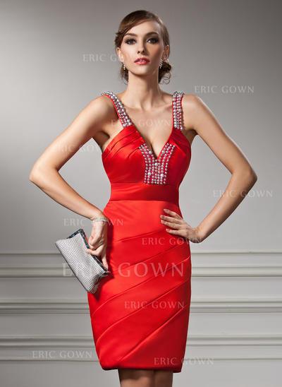 Sheath/Column V-neck Knee-Length Satin Cocktail Dresses With Ruffle Beading (016008852)