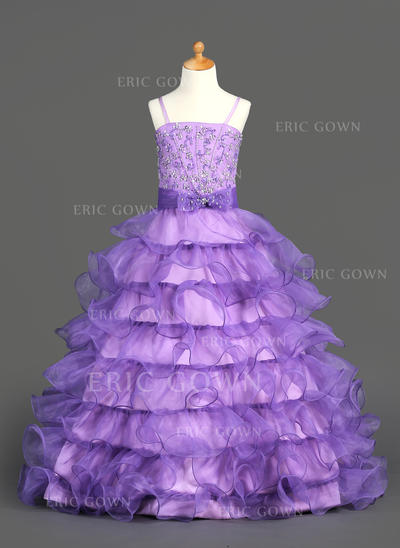 Princess Straps Ball Gown Flower Girl Dresses Floor-length Organza/Satin Sleeveless (010002153)