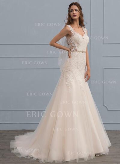 Trumpet/Mermaid V-neck Court Train Tulle Wedding Dress With Beading (002117107)