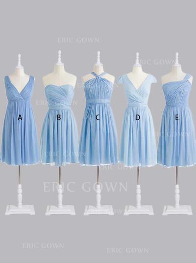A-Line/Princess Sweetheart One-Shoulder V-neck Knee-Length Bridesmaid Dresses With Ruffle (007146663)