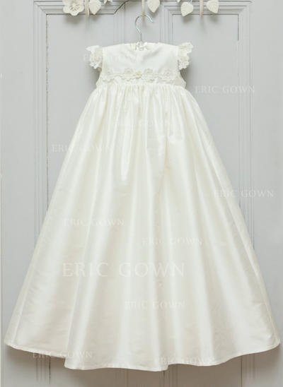 A-Line/Princess Scoop Neck Floor-length Satin Christening Gowns With Flower(s) (2001216821)