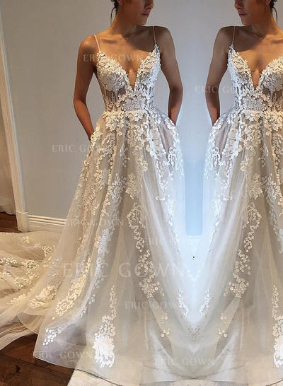 Chic Deep V Neck A-Line/Princess Wedding Dresses Court Train Tulle Sleeveless (002148007)