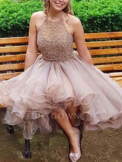 A-Line/Princess Halter Short/Mini Homecoming Dresses With Beading (022216304)