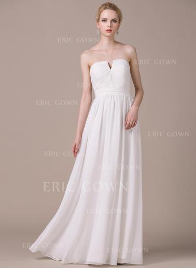 Fashion Strapless A-Line/Princess Wedding Dresses Floor-Length Chiffon Sleeveless (002210617)