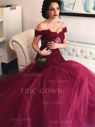 Trumpet/Mermaid Off-the-Shoulder Floor-Length Tulle Prom Dresses With Lace (018217896)