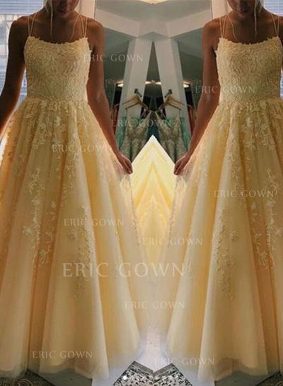 A-Line/Princess Square Neckline Floor-Length Prom Dresses With Appliques (018219392)