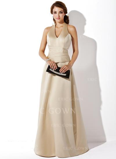 A-Line/Princess Satin Bridesmaid Dresses Halter Sleeveless Floor-Length (007197272)
