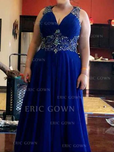 A-Line/Princess V-neck Floor-Length Prom Dresses With Beading (018218126)