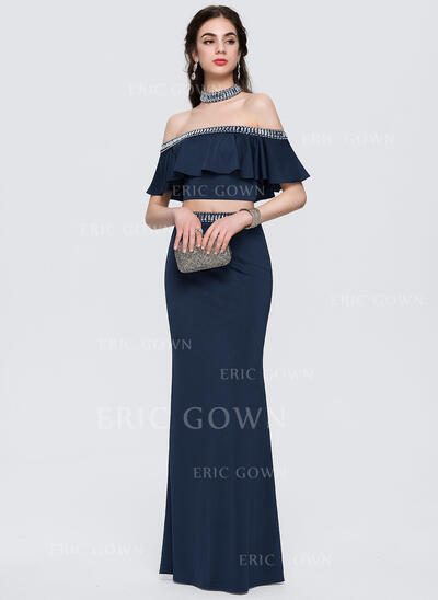 Sheath/Column Off-the-Shoulder Floor-Length Jersey Prom Dresses With Beading Cascading Ruffles (018146392)