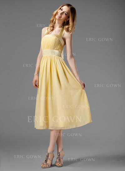A-Line/Princess Halter Tea-Length Chiffon Bridesmaid Dress With Ruffle Bow(s) (007000956)