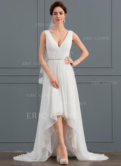 A-Line V-neck Asymmetrical Chiffon Wedding Dress With Beading (002127342)