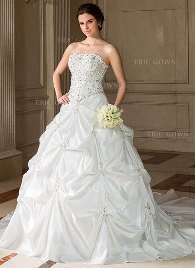Ball-Gown Sweetheart Chapel Train Wedding Dresses With Ruffle Beading Sequins (002001712)
