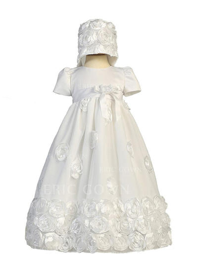 A-Line/Princess Scoop Neck Floor-length Satin Christening Gowns With Flower(s) (2001216845)