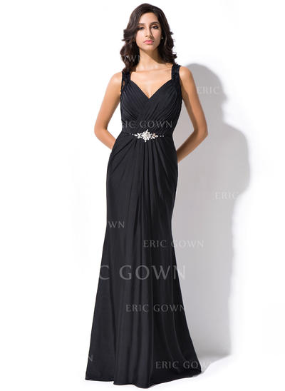 Luxurious Lace Jersey Evening Dresses Trumpet/Mermaid Sweep Train V-neck Sleeveless (017052715)