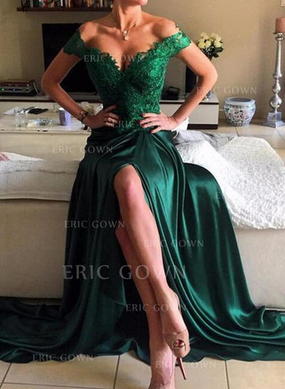 A-Line/Princess Off-the-Shoulder Sweep Train Charmeuse Evening Dresses With Beading Split Front (017216931)