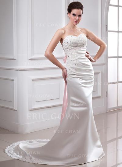 Trumpet/Mermaid Sweetheart Chapel Train Wedding Dresses With Ruffle Lace Sash Beading Bow(s) (002213223)