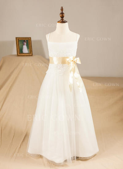A-Line/Princess Floor-length Flower Girl Dress - Satin/Tulle Sleeveless Straps With Sash/Appliques/Bow(s) (010094432)