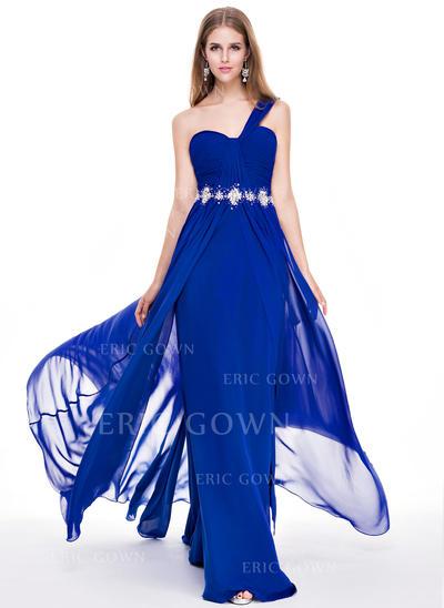 A-Line/Princess Chiffon Prom Dresses Ruffle Beading Sequins One-Shoulder Sleeveless Sweep Train (018056771)
