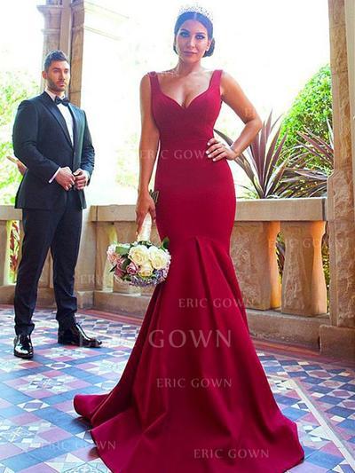 Trumpet/Mermaid V-neck Sweep Train Satin Bridesmaid Dresses With Ruffle (007217809)