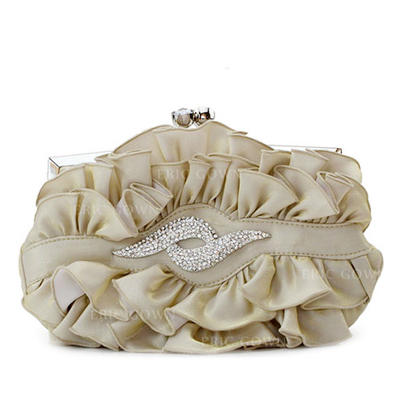 Clutches Wedding/Ceremony & Party/Casual & Shopping Silk Kiss lock closure Gorgeous Clutches & Evening Bags (012185004)