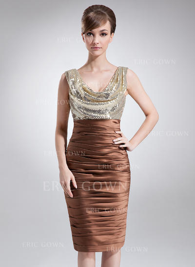 Sheath/Column Charmeuse Sequined Sleeveless Cowl Neck Knee-Length Zipper Up at Side Mother of the Bride Dresses (008213115)
