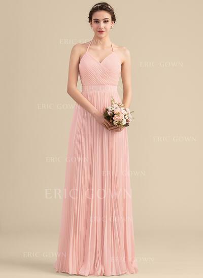 A-Line/Princess Sweetheart Floor-Length Chiffon Bridesmaid Dress With Pleated (007153323)