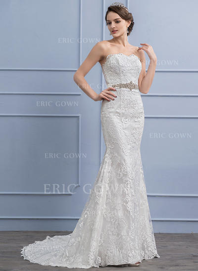 Trumpet/Mermaid Sweetheart Sweep Train Lace Wedding Dress With Beading Sequins (002107843)